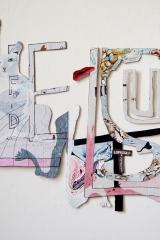 Gretha Hengst - LenL. 76 x 95 cm. Karton, waterverf, inkt, garen