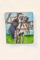 Gretha Hengst - Reis naar Oldeberkoop. 5 x 5 x 5 cm Papier, plastic, foto, waterverf, inkt, garen